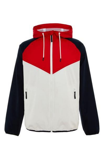 White/Red Colorblock Zip Chevron Jacket deals at $18