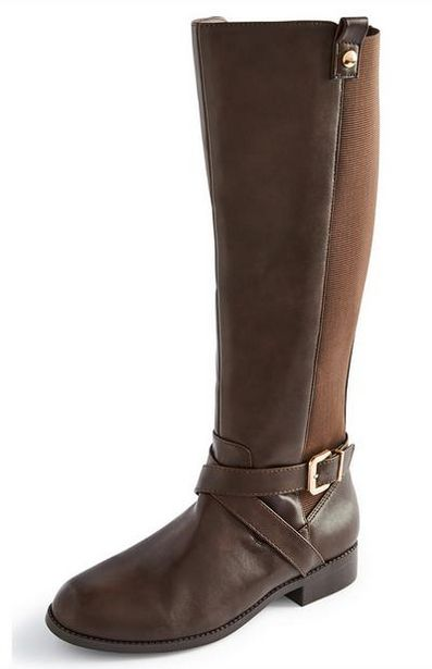 Brown Faux Leather Riding Boots offer at $25