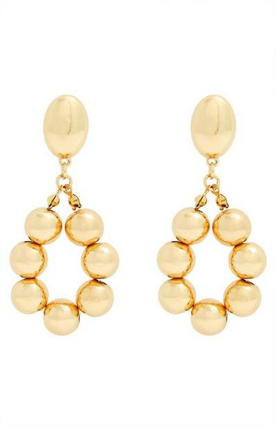 Gold Bead Oval Drop Earrings offer at $4