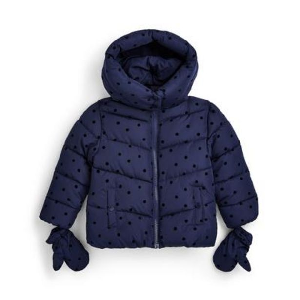 Younger Girl Navy Mid Weight Flock Coat deals at $21