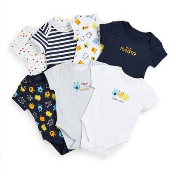 7-Pack Newborn Baby Boy Monster Print Bodysuits deals at $13
