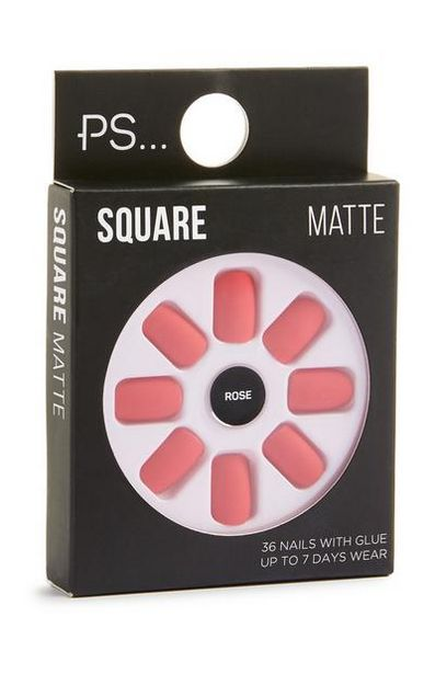 Square Matte Rose Stick On Nails deals at $2