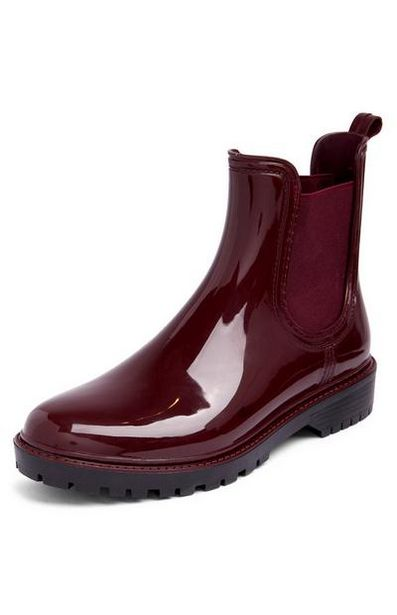 Burgundy Chunky Chelsea Rain Boots offer at $13