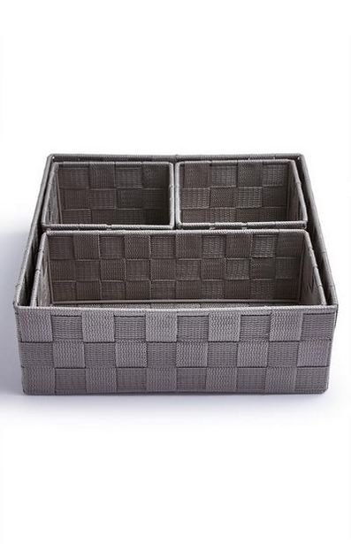 4-Pack Gray Woven Baskets deals at $9