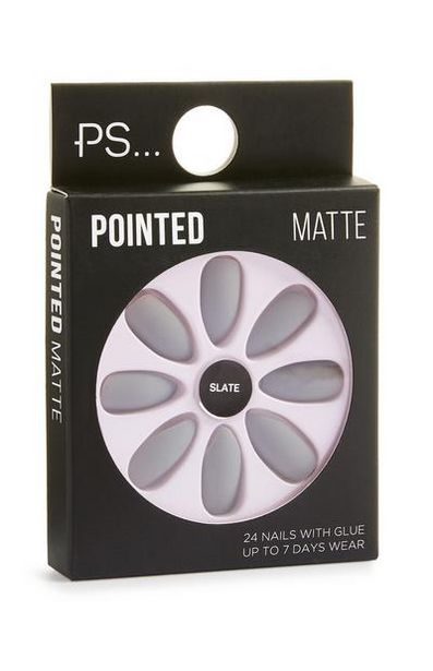 Pointed Slate Matte Faux Nails deals at $2