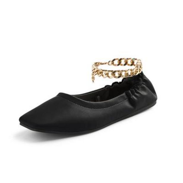 Black Square Toe Ballerinas with Chain Detail deals at $13