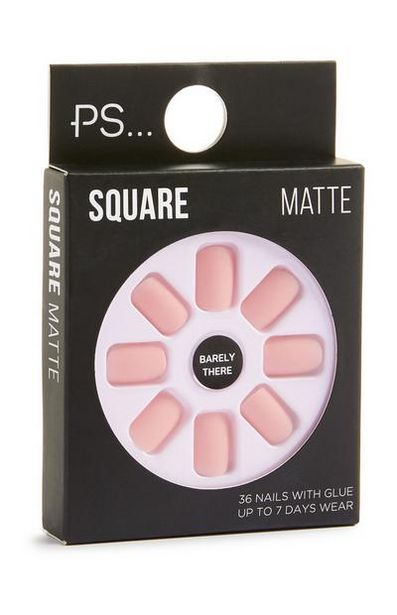 Square Matte Pink Stick On Nails offer at $2