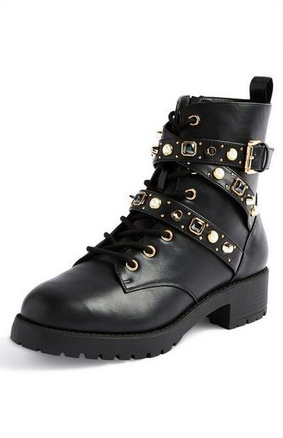 Black Gem Lace Up Boots offer at $23