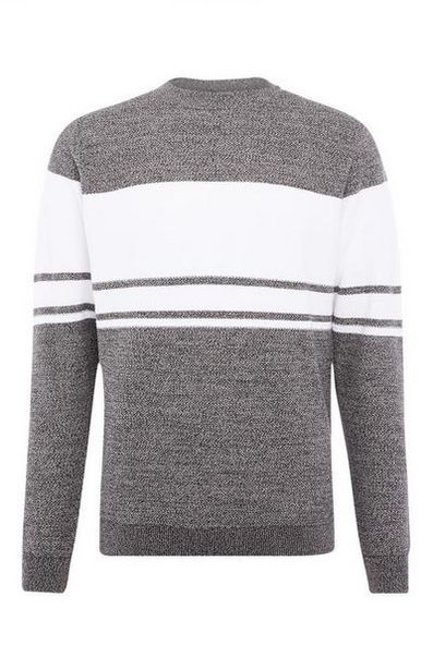 Gray Textured Stripe Sweater offer at $15