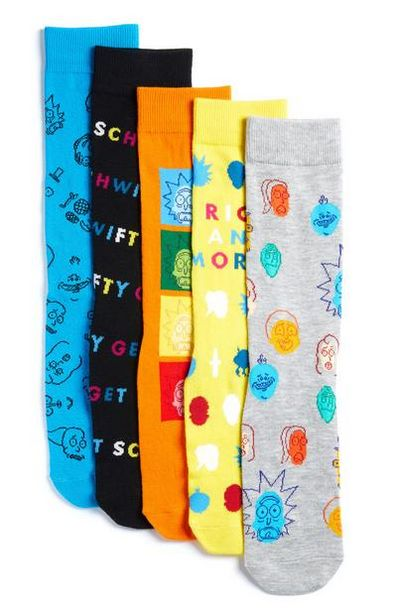 5-Pack Multi Rick And Morty Socks deals at $10