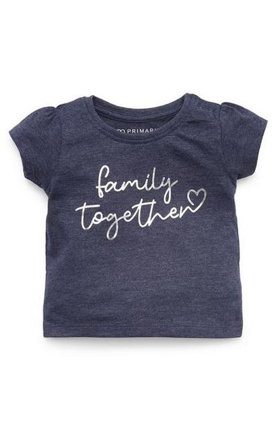 Baby Girl Navy Family Together Print T-Shirt offer at $3