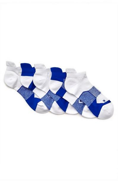 5-Pack White And Blue Performance Socks deals at $7