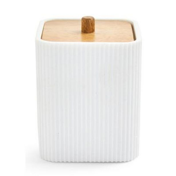 White Elevated Cotton Ball Holder deals at $8