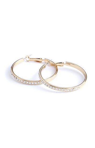 Rhinestone Hoop Earrings offer at $2