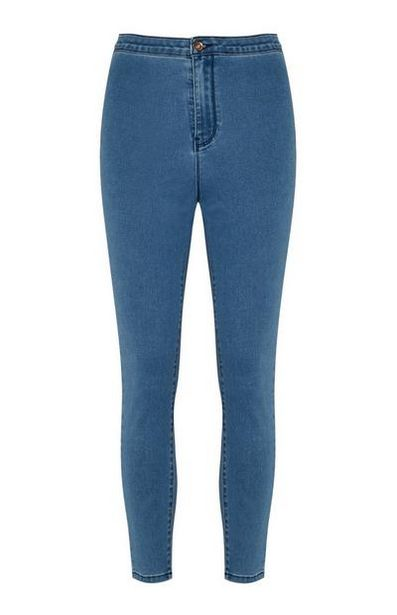 Mid Blue Acid Wash High Waist Jeans offer at $13
