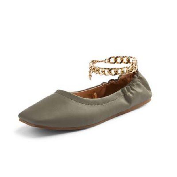 Khaki Square Toe Chain Detail Ballerinas deals at $13