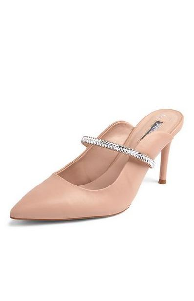 Beige Pointy Special Occasion Mules offer at $18