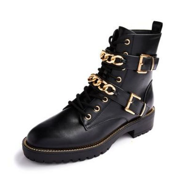 Chunky Black Chain Detail Lace-Up Boots deals at $25
