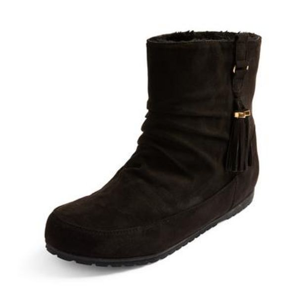 Black Faux Suede Side Tassel Boots deals at $11