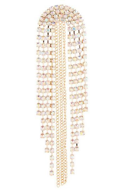 Goldtone Domed Rhinestone Drop Earrings offer at $5