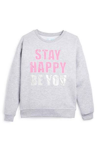 Older Girl Gray and Pink Stay Happy Be You Crew Sweater offer at $7