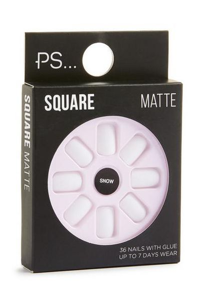 Square Matte White Stick On Nails offer at $2