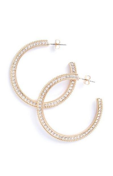 Gold Rhinestone Hoops offer at $5
