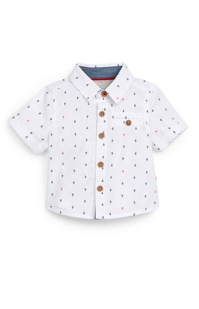 Baby Boy White Anchor Print Poplin Shirt deals at $7