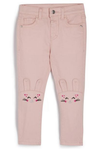 Younger Girl Pink Bunny Knee Twill Pants offer at $15