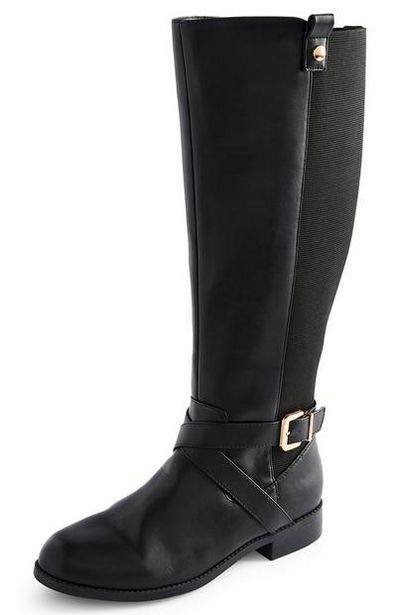 Black Faux Leather Riding Boots offer at $25