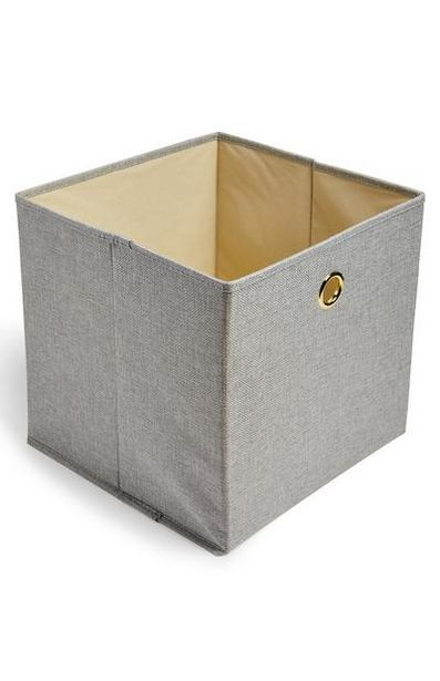 Gray Solid Woven Cube Storage Box deals at $4