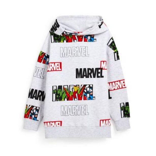 Older Boy Gray Marvel Print Pullover Hoodie deals at $18