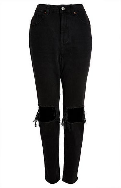 Black Slim Ripped Mom Jeans offer at $22