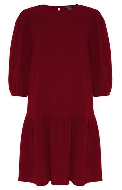 Red Textured Tiered Mini Dress offer at $16
