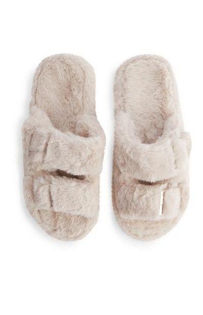Cream Double Buckle Faux Fur Slides deals at $9