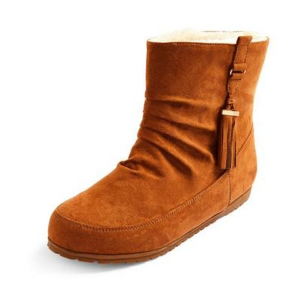 Tan Faux Suede Side Tassel Boots deals at $11