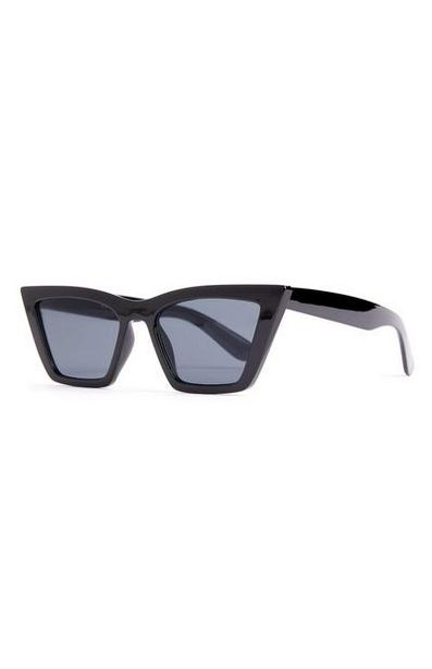 Black Chunky Stretched Cat Eye Sunglasses offer at $3.5