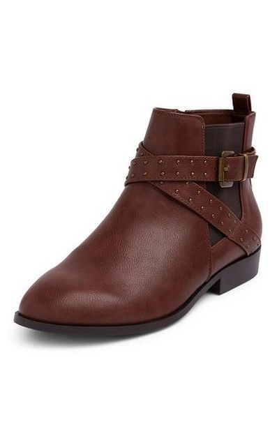 Dark Brown Strap Stud Chelsea Boots offer at $18
