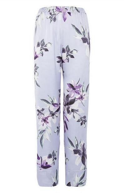 Blue Satin Floral Pants offer at $14