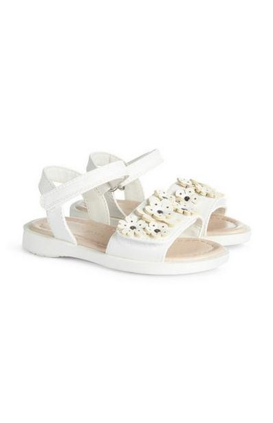 Younger Girl White Floral Sandals offer at $12