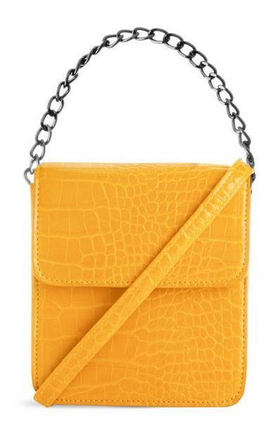 Yellow Croc Square Chain Bag offer at $9