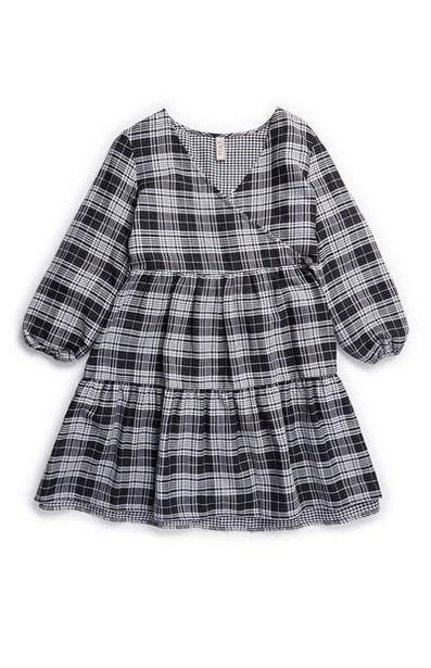 Older Girl Gray Check Woven Wrap Dress offer at $14
