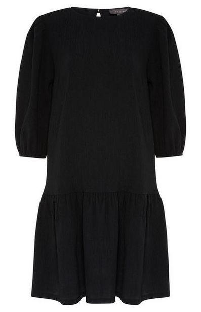 Black Textured Tiered Mini Dress offer at $16