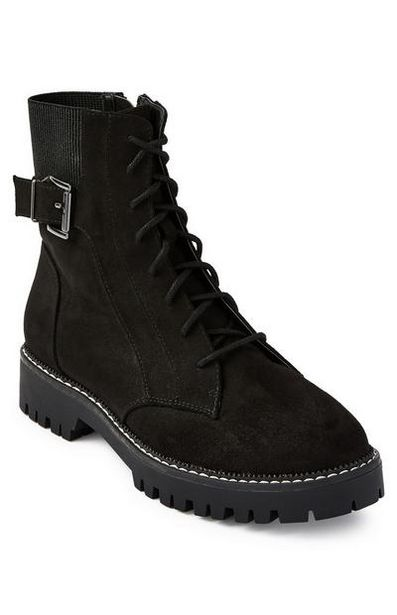 Black Elastic Insert Lace Up Boots offer at $23