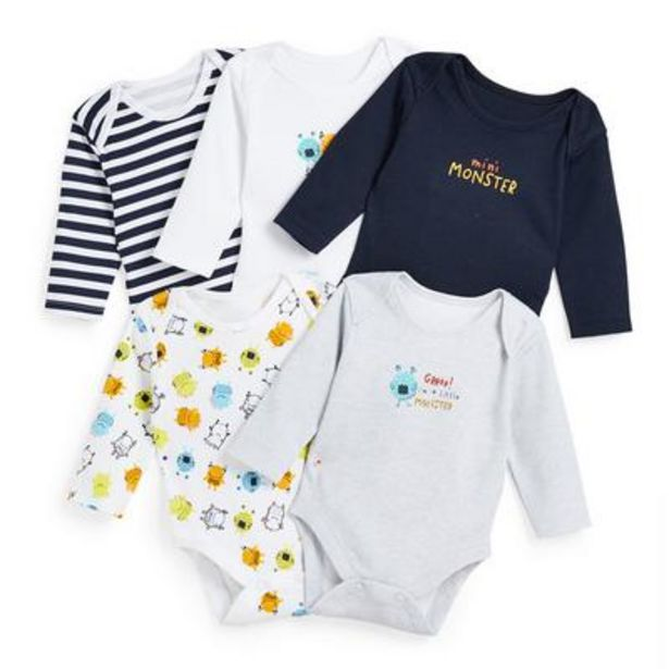 5-Pack Baby Boy Monster Print Sleepsuits deals at $10