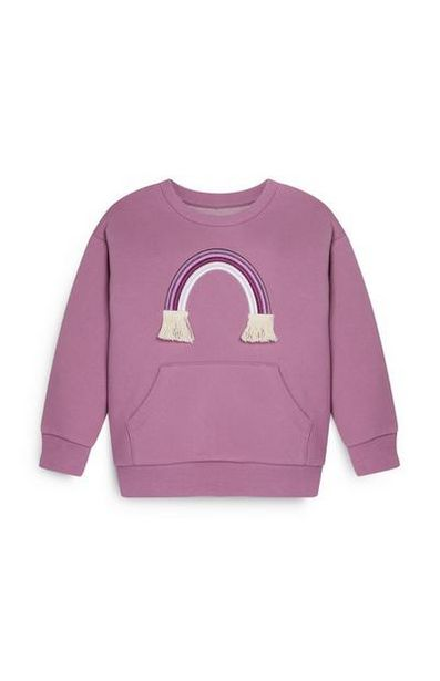 Younger Girl Rainbow Crew Neck Purple Hoodie offer at $10
