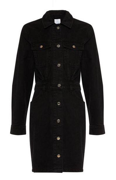 Black Denim Long Sleeve Dress offer at $22