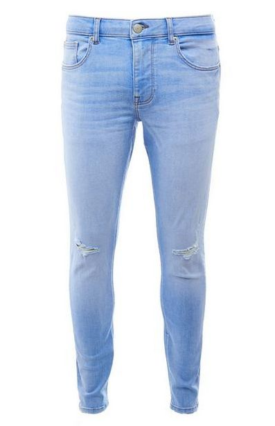 Bleached Blue Wash Ripped Skinny Jeans deals at $23