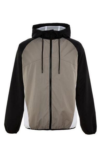 Black/Taupe Zip Colorblock Jacket deals at $18