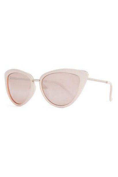 Blush Pink Metal Trim Cat Eye Sunglasses offer at $4.5
